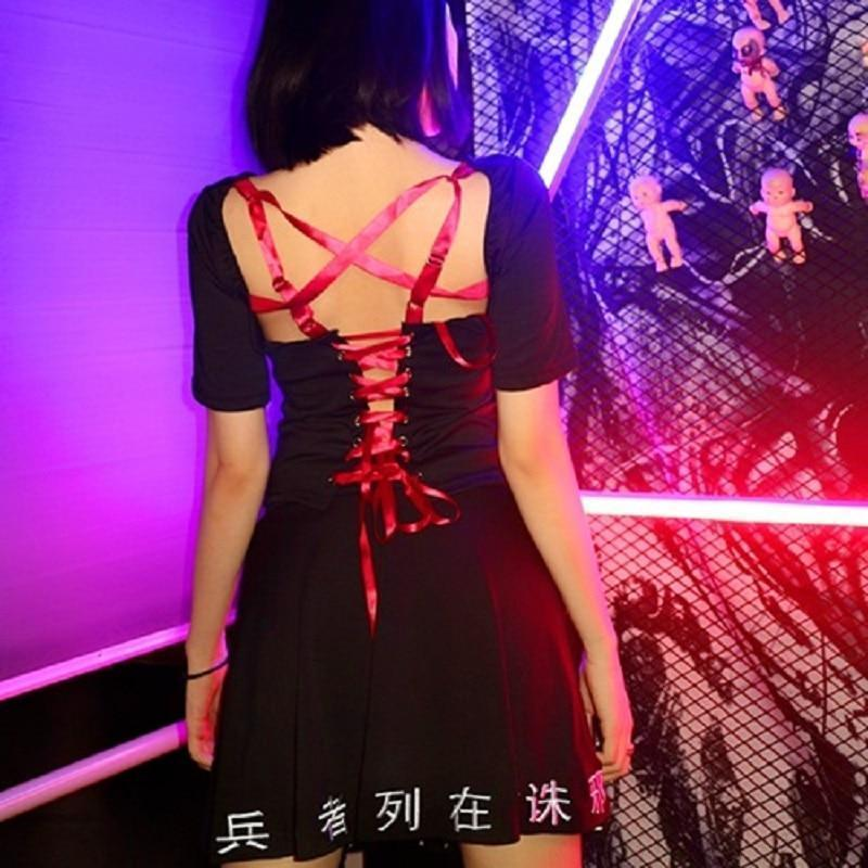 Punk Black Lace Up Ribbon Sexy Dress - The Black Ravens
