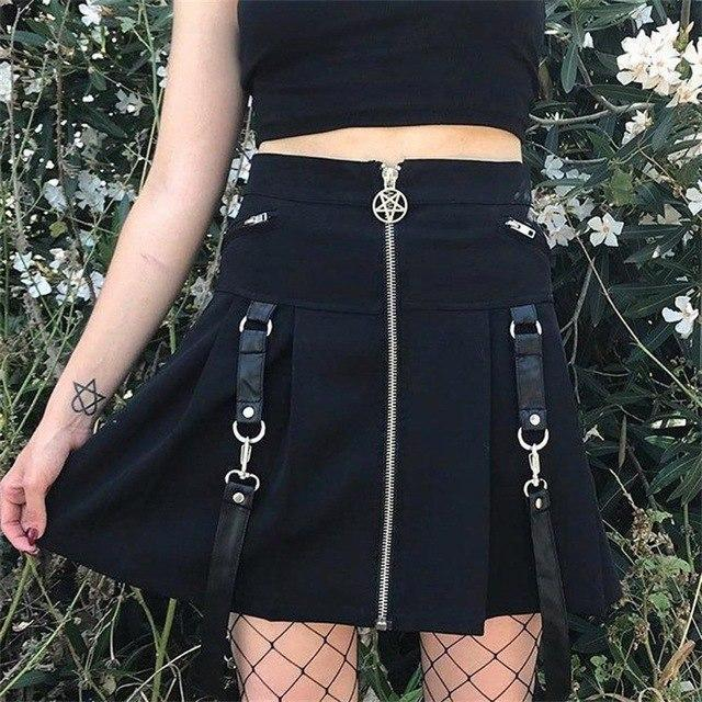 Punk Girls' Chic Pentagram Zippered Mini Skirt-S-