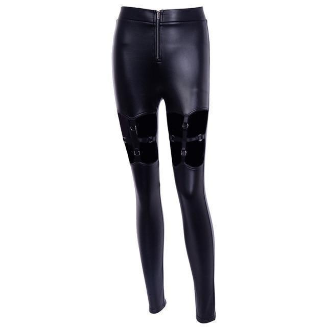 Punk Girls Elastic Leather Pants-L-