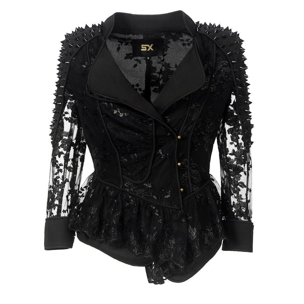 Punk Ladies' Black Lace Jacket-S-