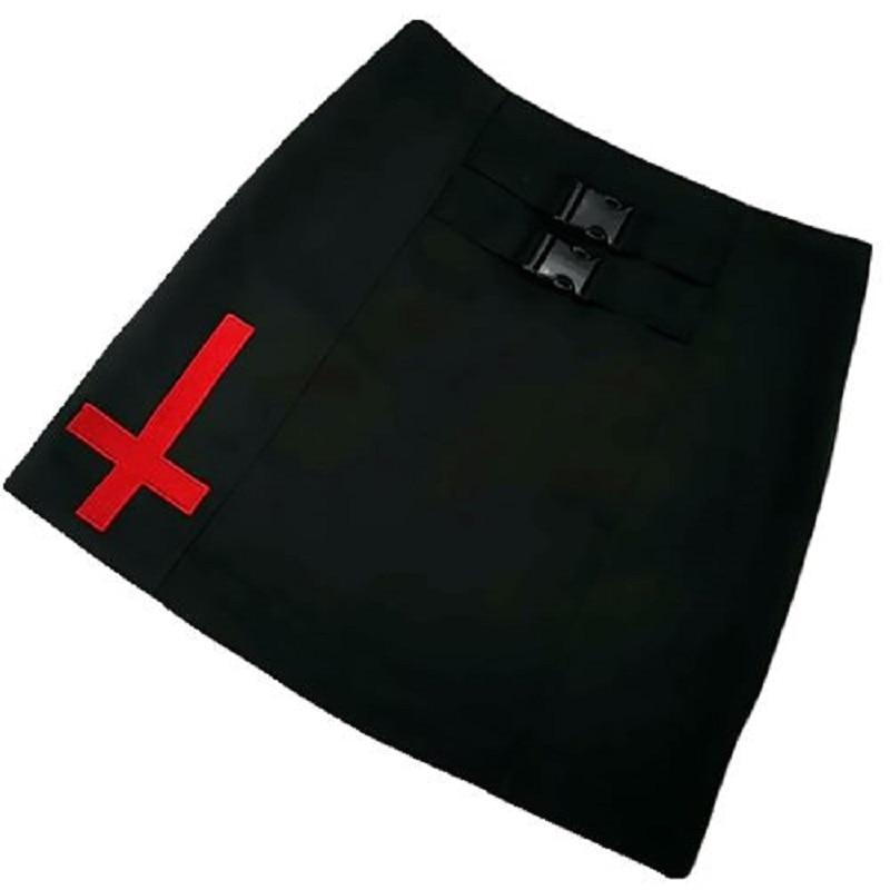 Punk Ladies Inverted Cross Mini Skirt - The Black Ravens