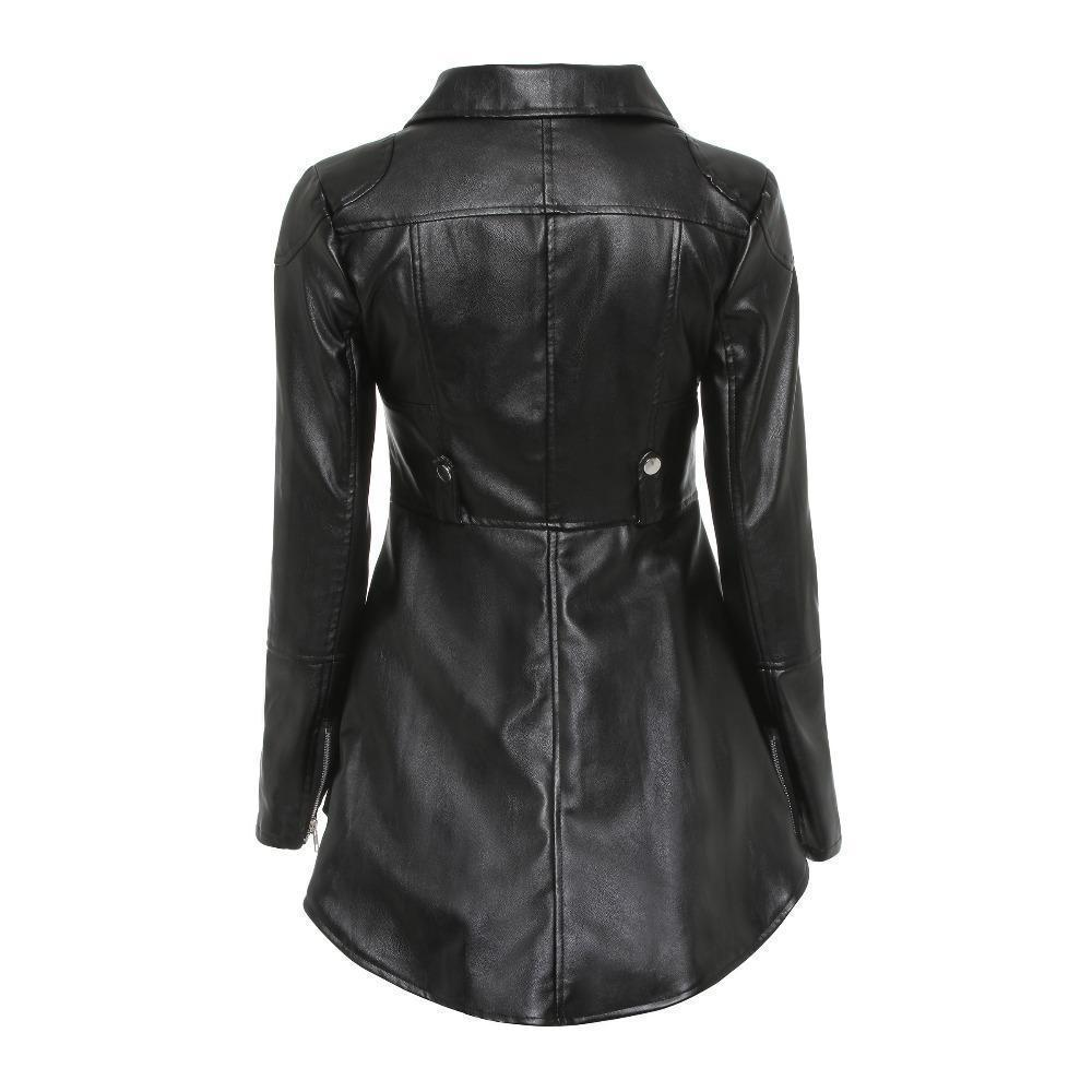 Punk Ladies' Long Leather Jacket - The Black Ravens