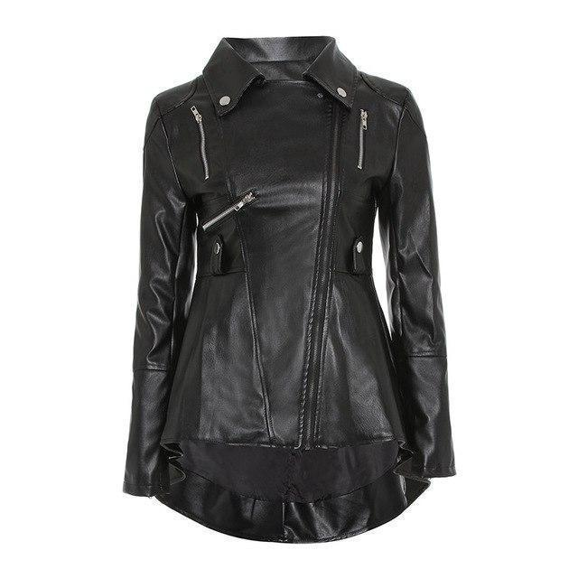 Punk Ladies' Long Leather Jacket-S-