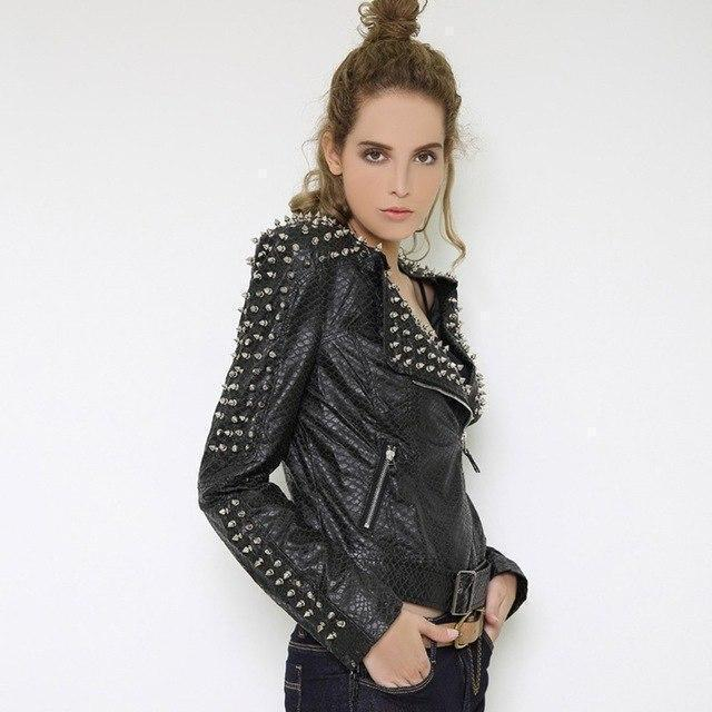 Punk Ladies Spiked Leather Motorcycle Jacket-S-