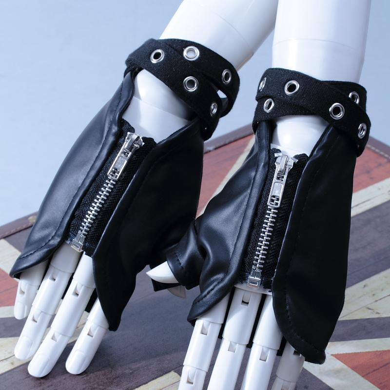 Punk Leather Zippered Unisex Hand Gloves-