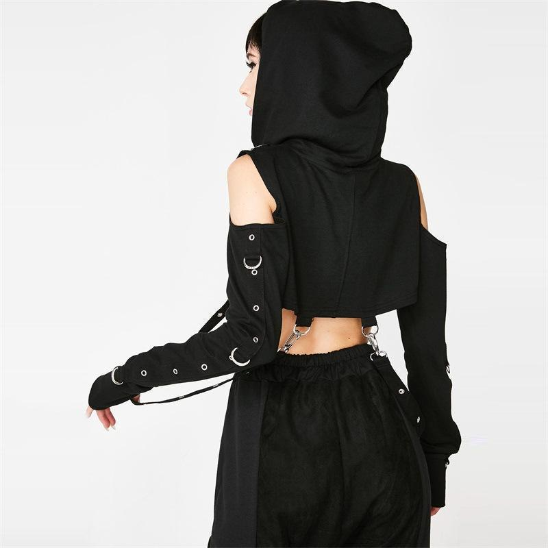 Punk Mesh Bandage Women's Hoodie - The Black Ravens