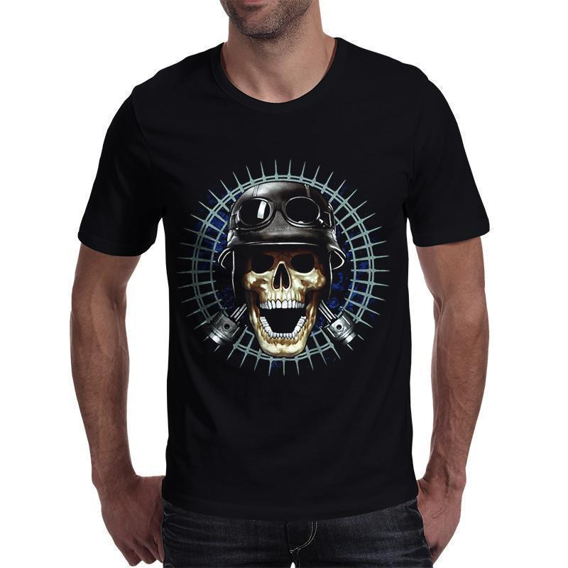 Punk Rock Skull With Hat T-Shirt-Black-S-