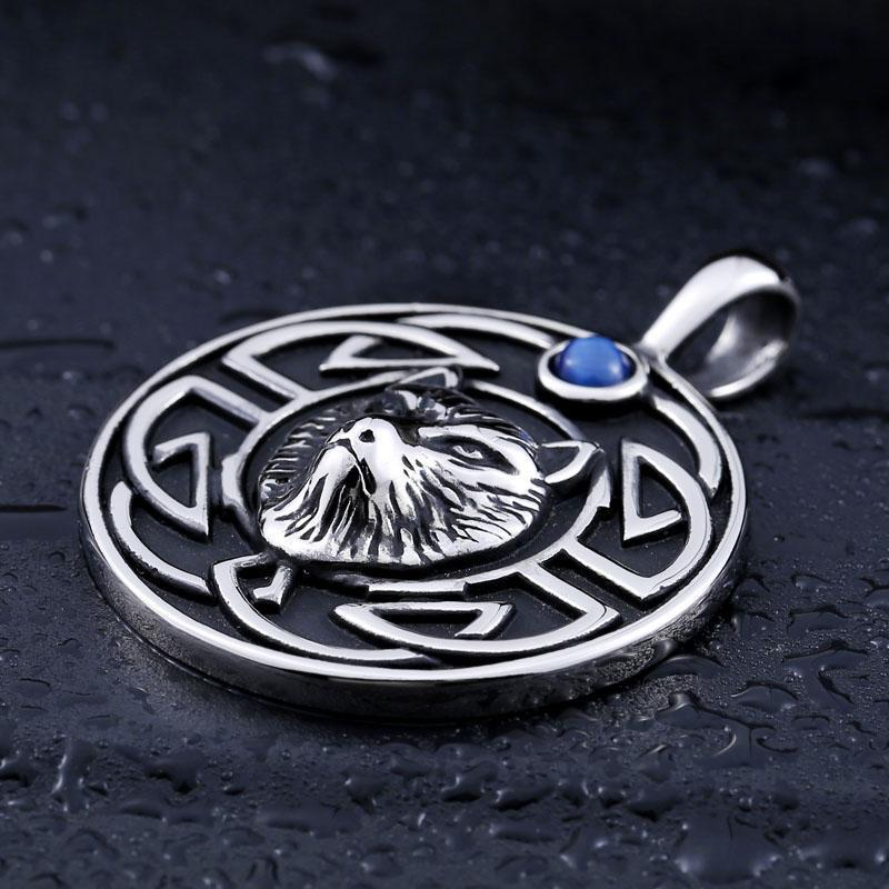 Punk Silver Wolf Viking Pendant - The Black Ravens