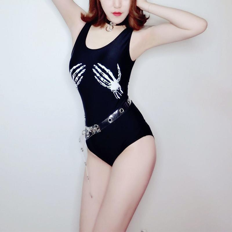Punk Skeleton Hand Sexy One Piece-XL-