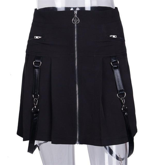 Punk Zippered Sexy Suspender Skirt-L-