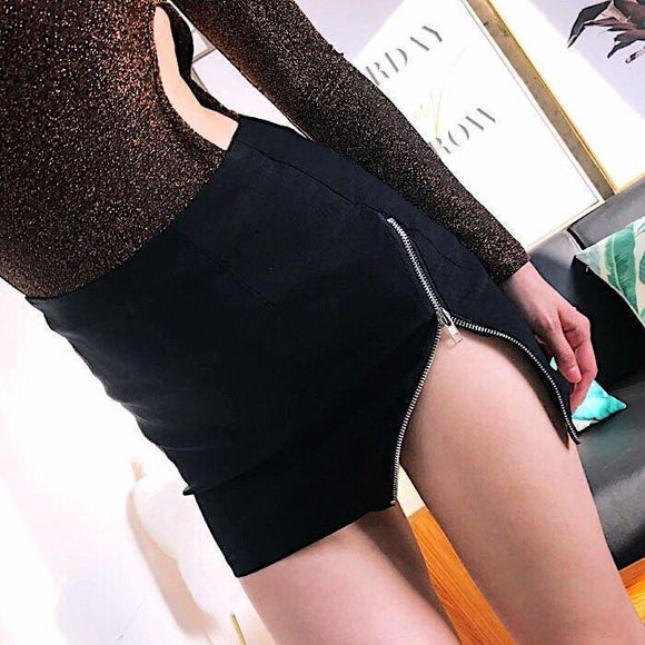 Punk Zippered Slit Mini Skirt-S-