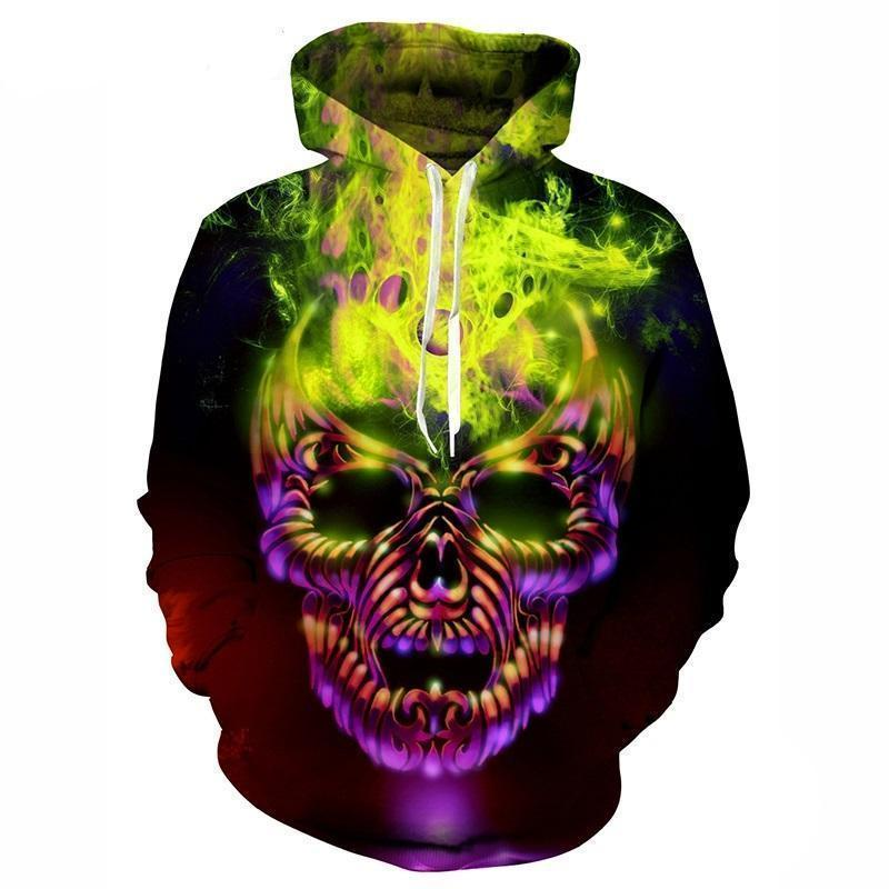 Purple And Green Colorful Skeleton Face Jumpers-Green-XXS-