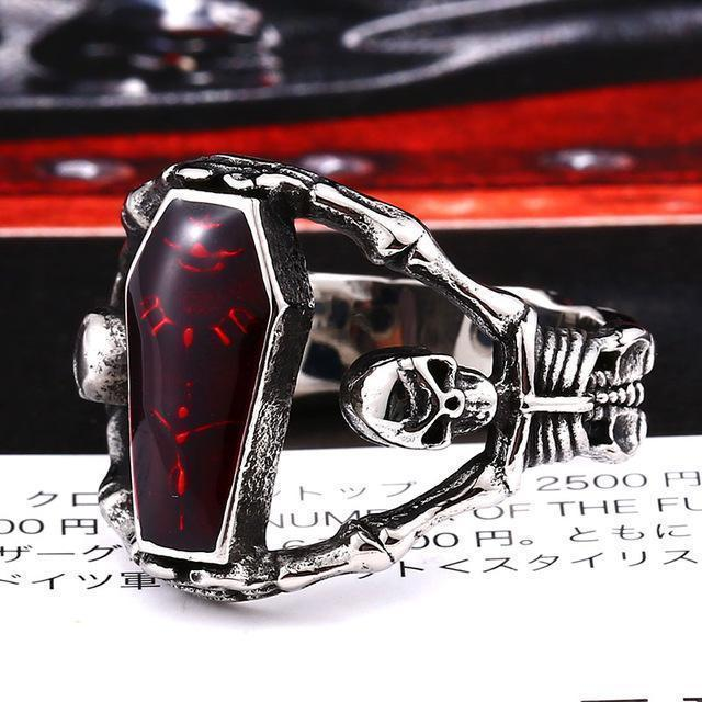 Purple & Red Coffin Antique Vampire Rings - The Black Ravens