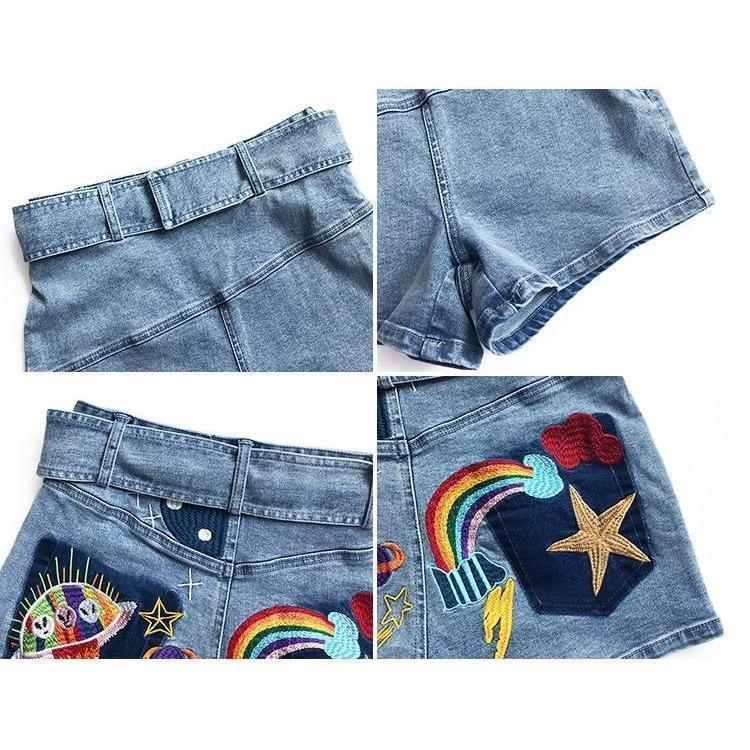 Rainbow Spacecraft Casual Grunge Shorts - The Black Ravens