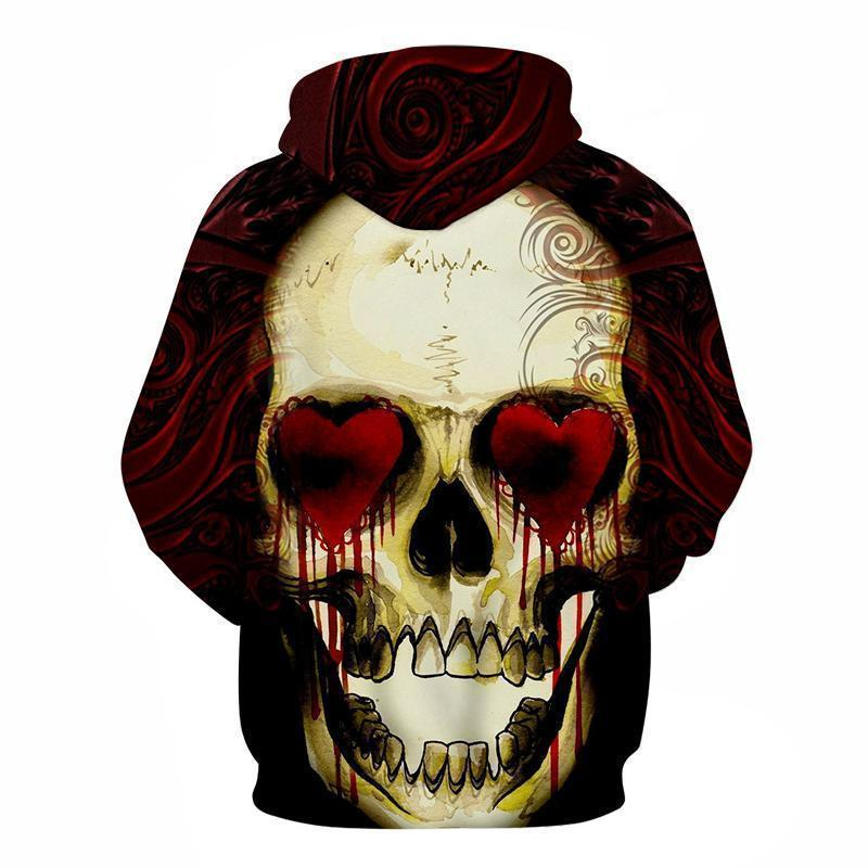 Red Bleeding Heart Eyed Skull Hooded Jumper-Red-XXS-