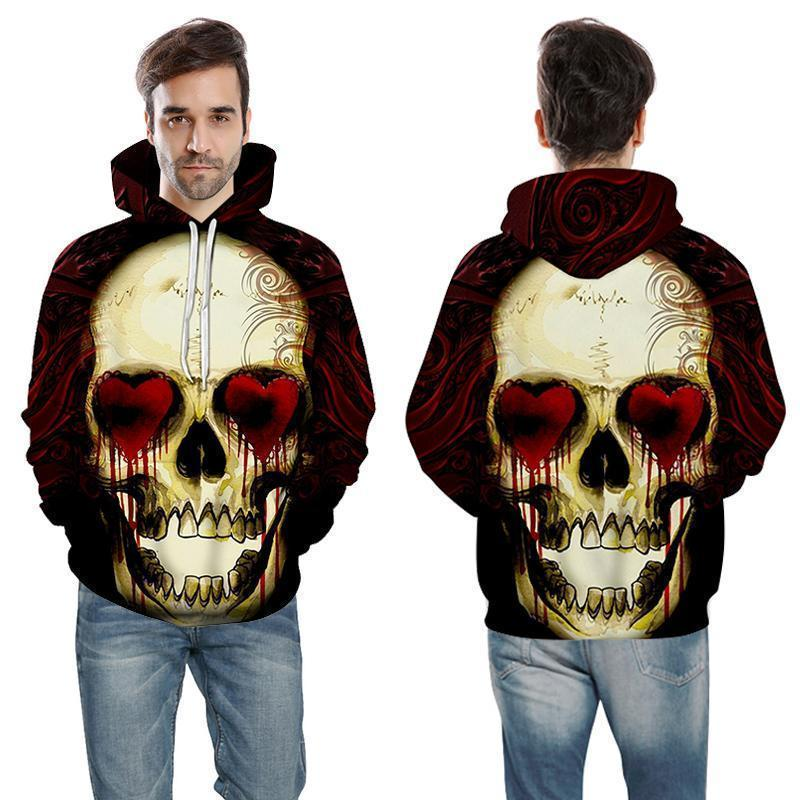 Red Bleeding Heart Eyed Skull Hooded Jumper - The Black Ravens