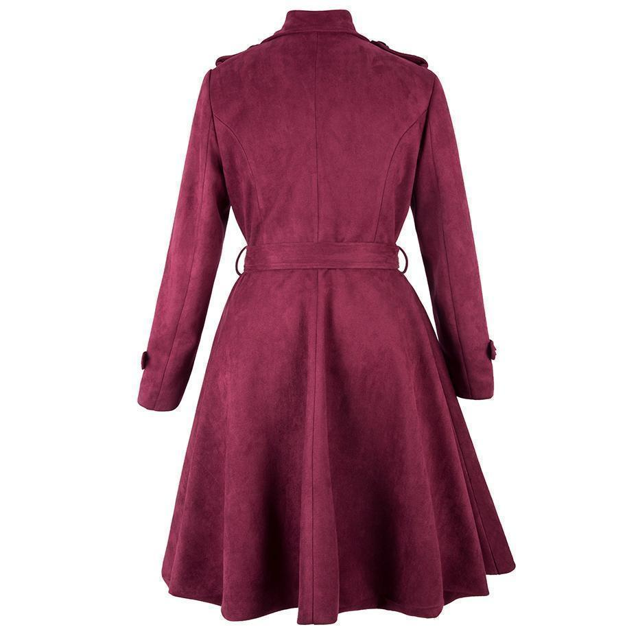 Red Bow Traditional Button Overcoat For Women-Burgundy-S-