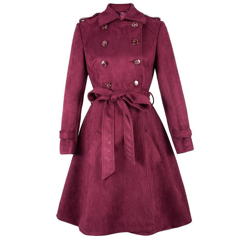Red Bow Traditional Button Overcoat For Women - The Black Ravens