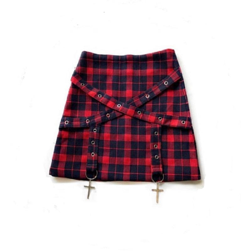Red Chequered Emo Mini-Skirts-Red-S-