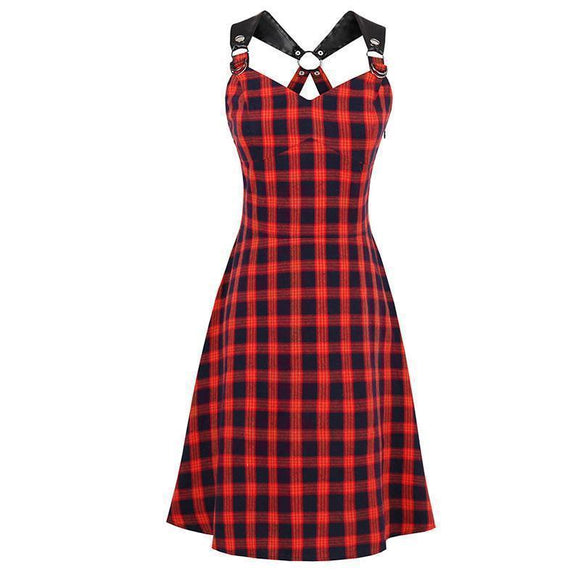 Red Chequered Spaghetti Strap Dress-Red-S-