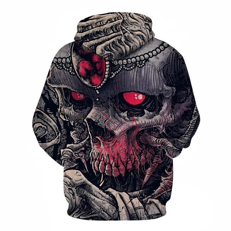 Red Eye Full Body Skull Hooded Jumper-Red-XXS-