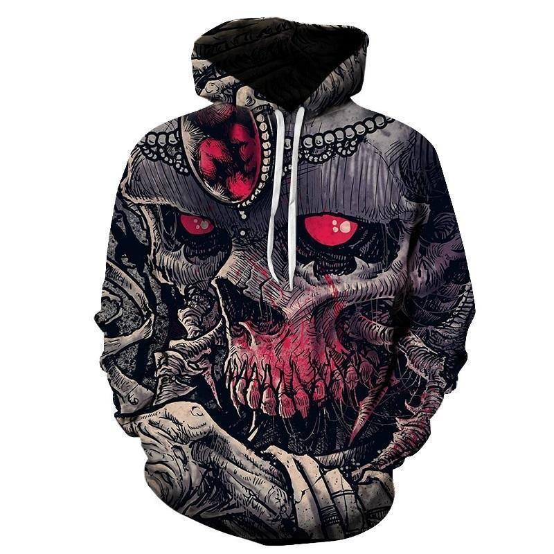 Red Eye Full Body Skull Hooded Jumper - The Black Ravens