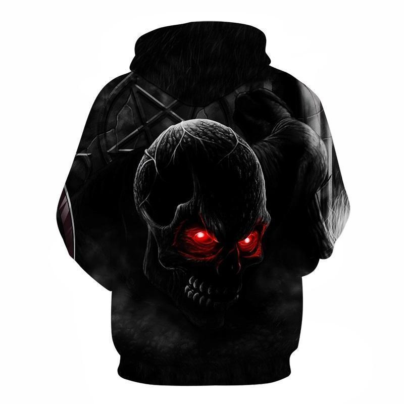 Red Eye Skeleton Head Hoodies For Men-Black-XXS-