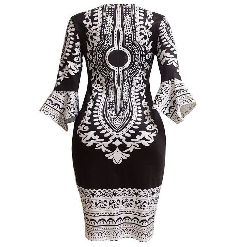 Retro Ladies' Folk Style Bodycon-M-