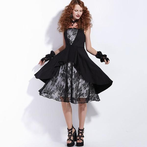 Retro Style A-Line Party Gown-Black-S-