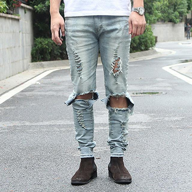 Ripped Denim Light Blue Skinny Jeans For Men-Blue-28-