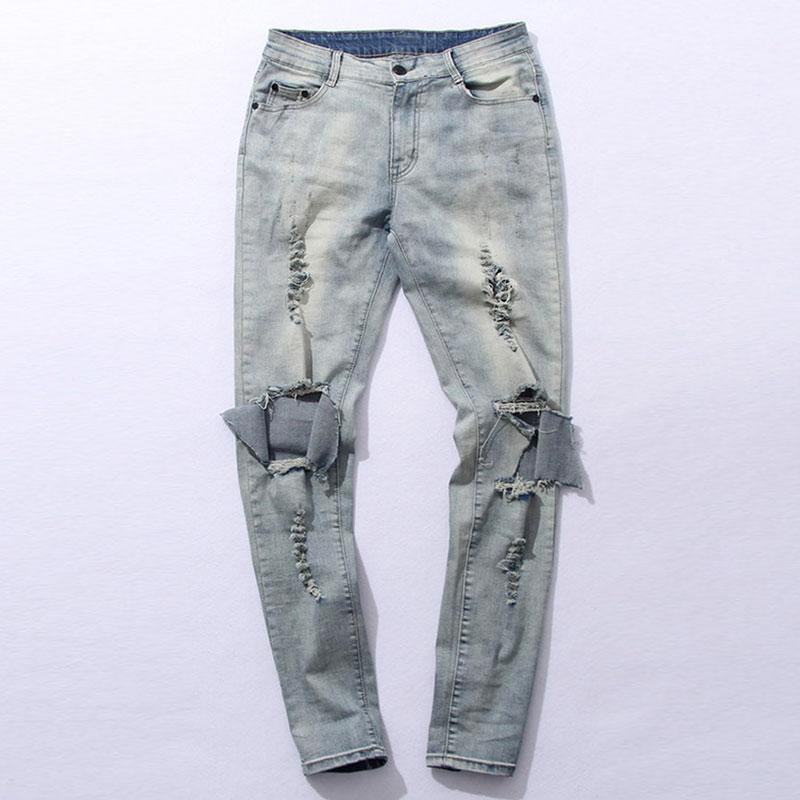 Ripped Denim Light Blue Skinny Jeans For Men - The Black Ravens