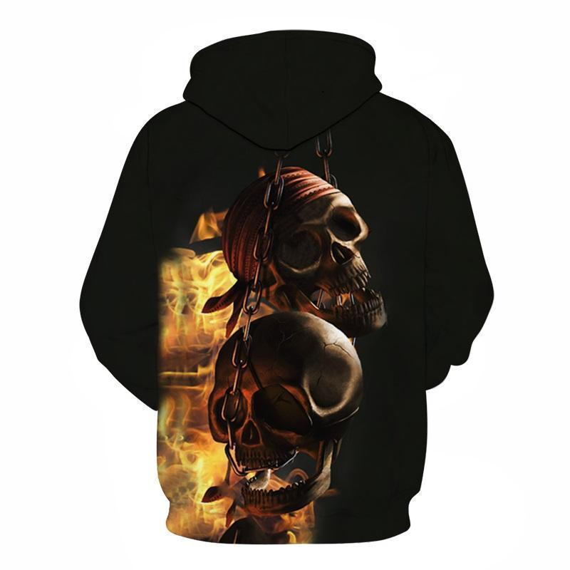 Rocker Flaming Chained Skulls Hoodie For Guys-Black-XXS-