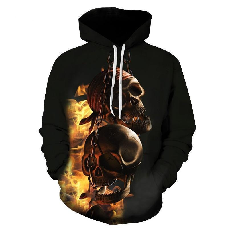 Rocker Flaming Chained Skulls Hoodie For Guys - The Black Ravens