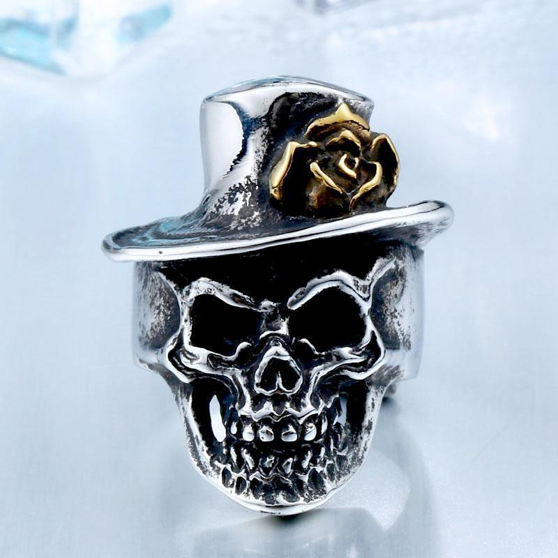 Rose Hat Silver Skeleton Head Band-7-