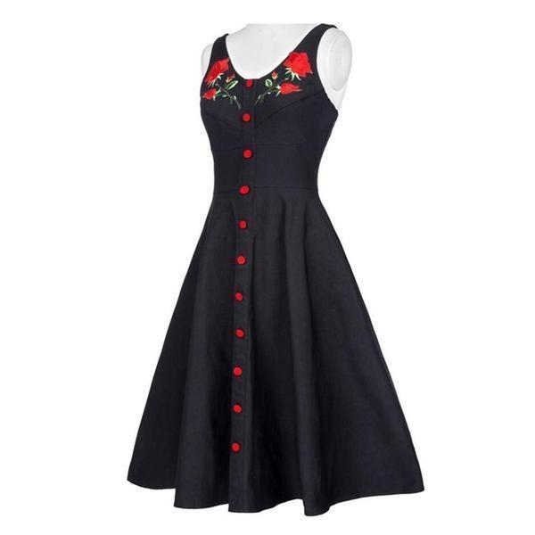 Rose Print Ladies Gothic Dress-S-