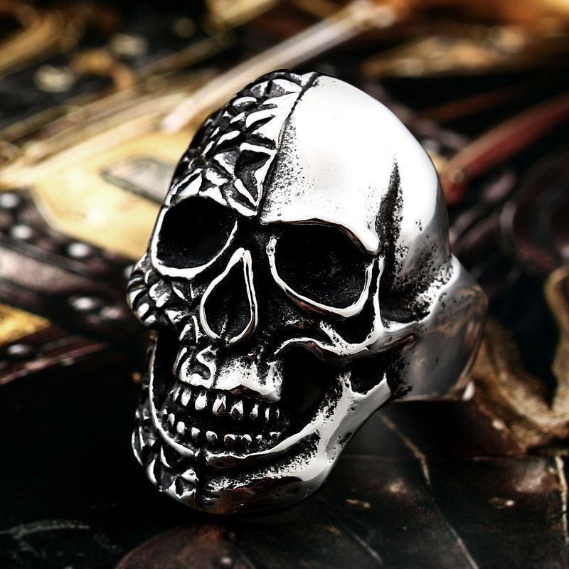 Rotting Skull Biker Rings For Men - The Black Ravens