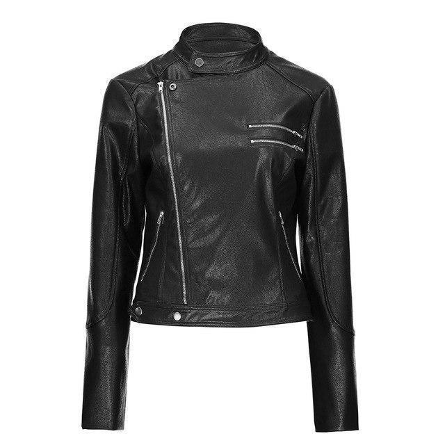 Round Neck Ladies' Leather Biker Jacket-M-