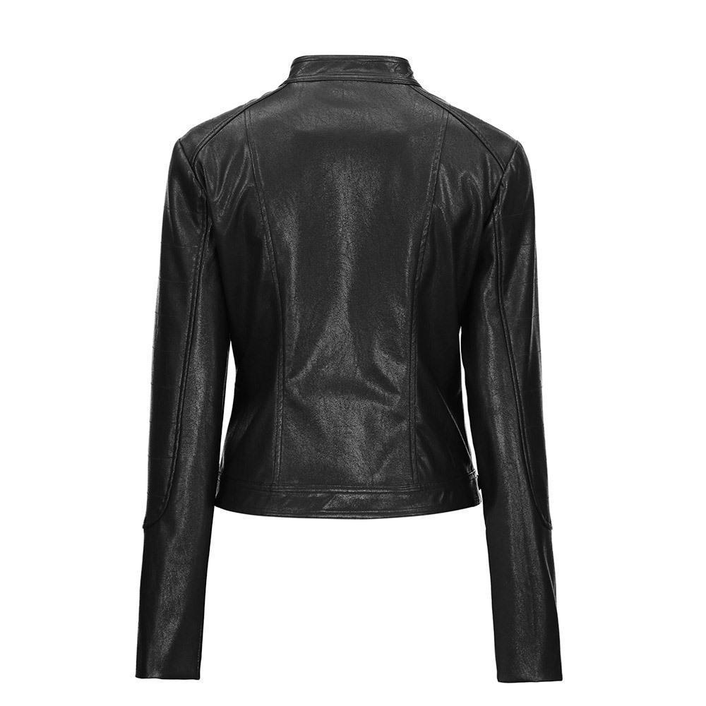 Round Neck Ladies' Leather Biker Jacket-XS-