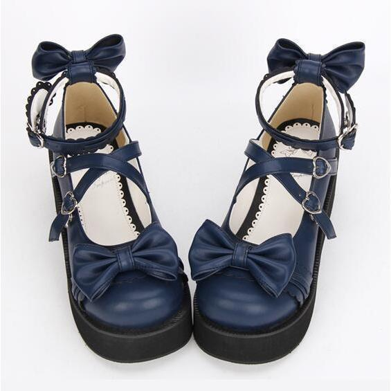 Royal Blue Strappy Sweet Lolita Wedges-Navy Blue-5-