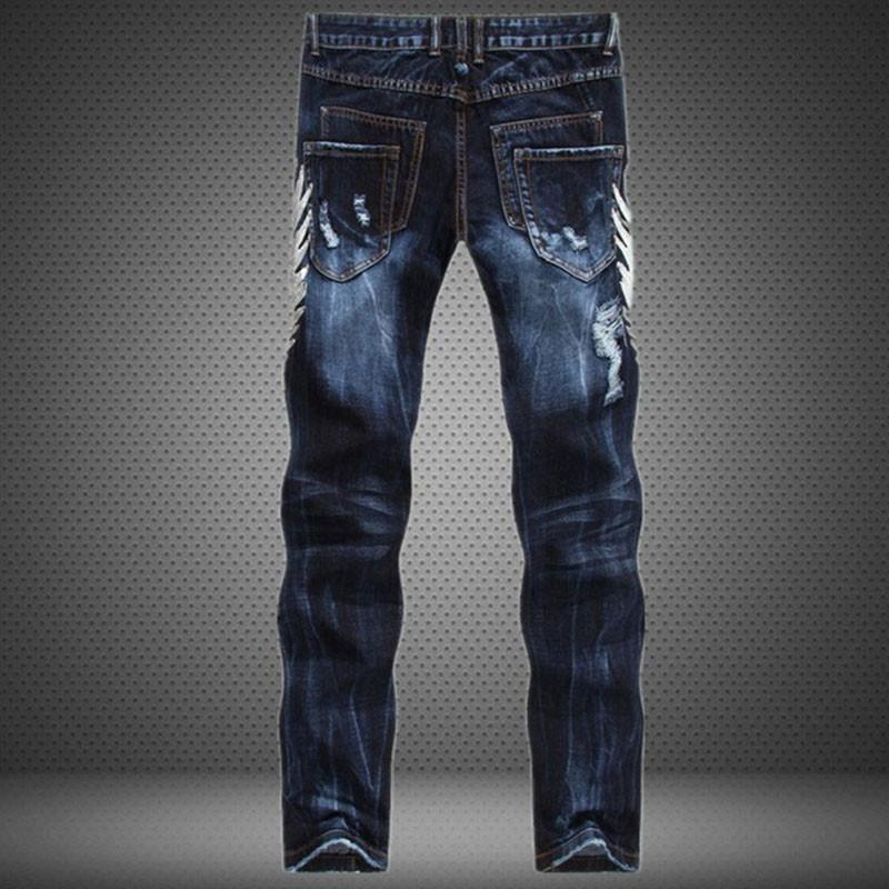 Runway Men's Acid Washed Patched Jeans-Blue-30-
