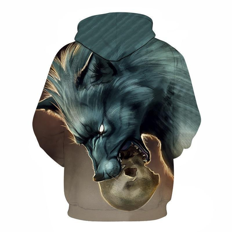 Savage Wolf Biting A Skull Hooded Sweatshirt - The Black Ravens