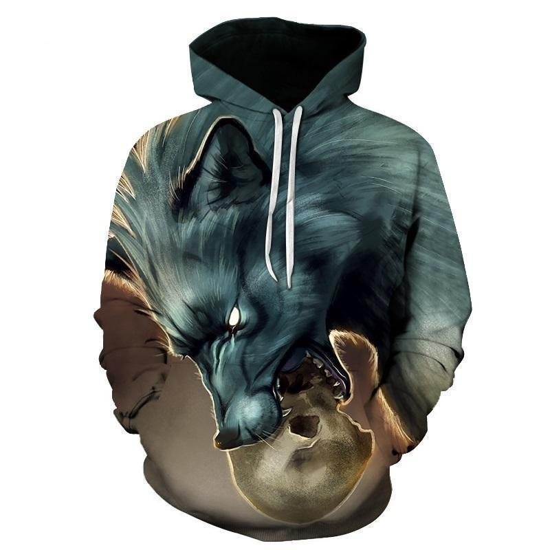 Green Horned Skull And Axe Casual Sweatshirt