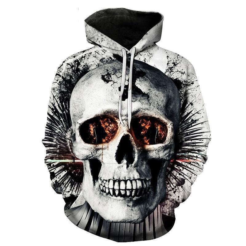 Scary 3D Flaming Eyes Hoodie-Gray-XXS-