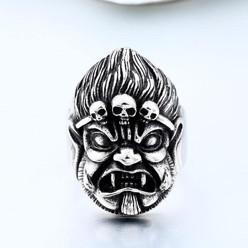 Scary Gargoyle Monkey Biker Rings-7-