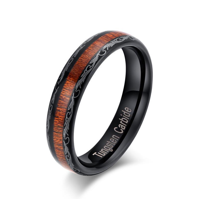 Scratch Proof Metallic Oakwood Rings - The Black Ravens