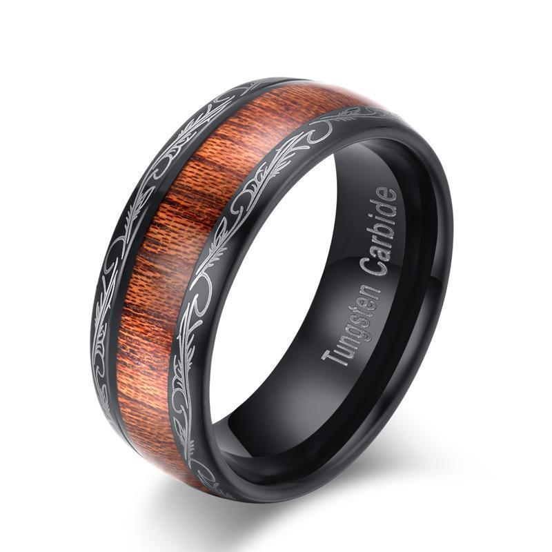 Scratch Proof Metallic Oakwood Rings-7-8Mm-