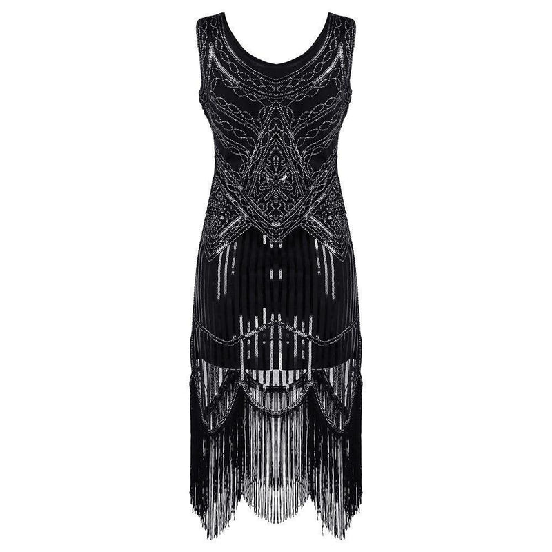 Sequined And Tasseled Gothic Party Dress-S-