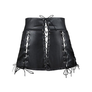 Sexy And Slim Lace-Up Bandage Mini Skirt-Black-S-