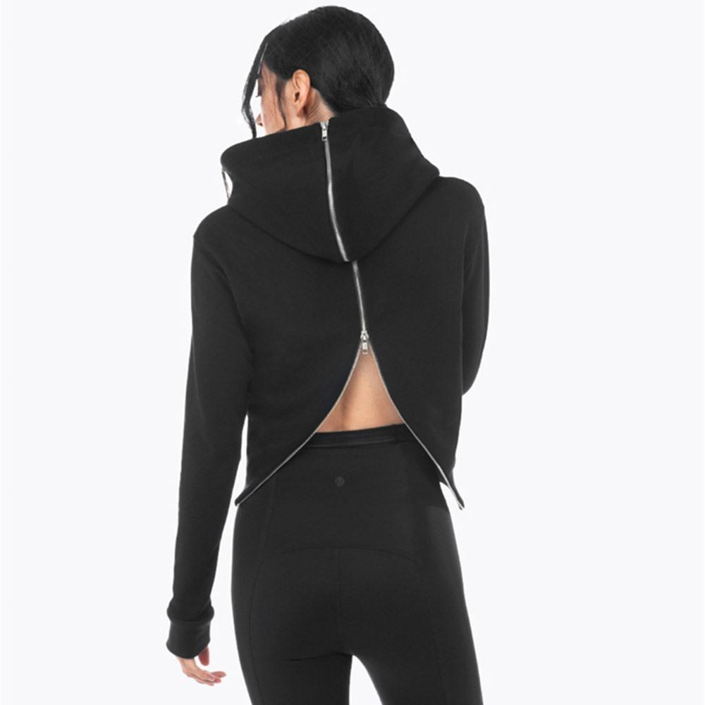 Sexy Back Zippered Hooded Top-S-