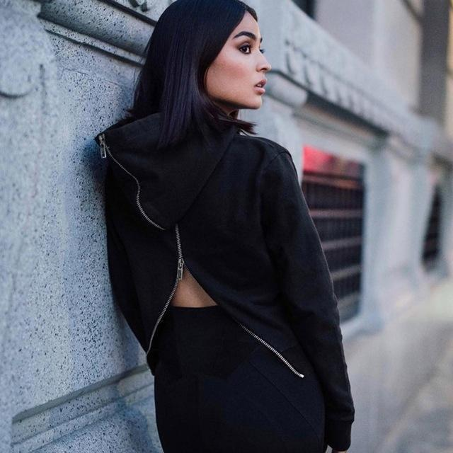 Sexy Back Zippered Hooded Top - The Black Ravens